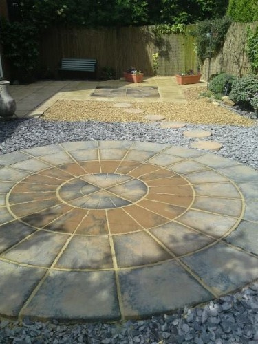 Full Radius Patio Paving Grey